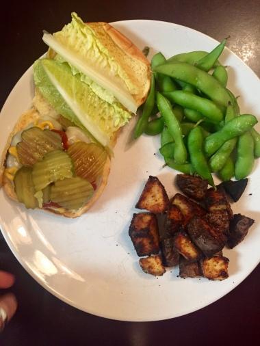 Cheeseburger, Edamame, and Roasted Potatoed