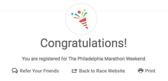 Philadelphia Marathon Congrats Message