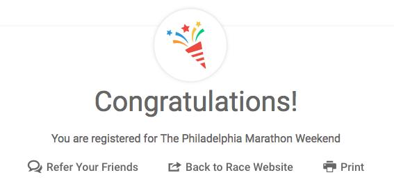 Philadelphia Marathon Congrats Message